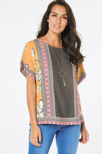 Short Sleeve Multi Print Top With Jersey Back