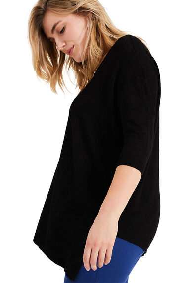 Studio 8 Amelie Asymmetric Linen Blend Knit Top