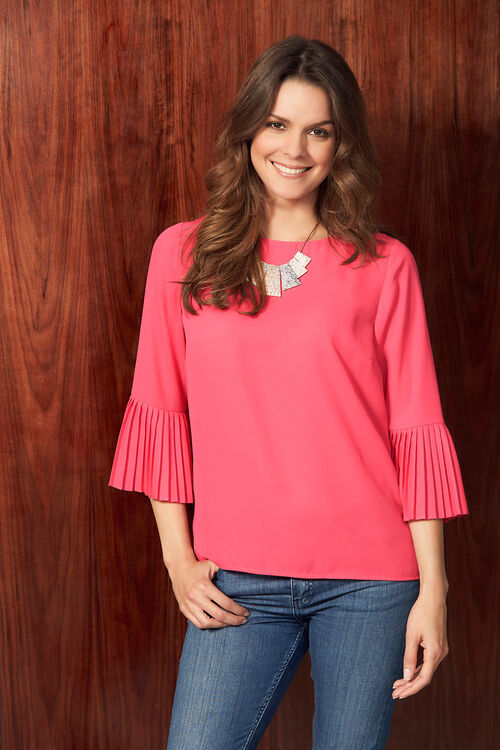 Plain Blouse With Pleated Sleeves