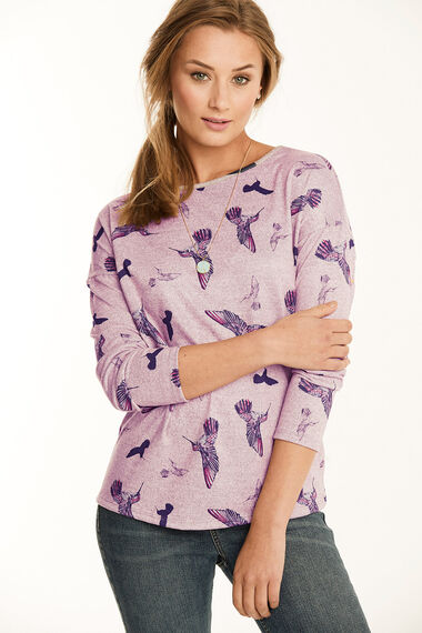 Soft Touch Bird Print Crew Neck Sweater