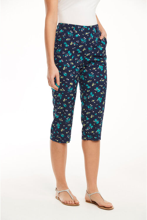 Floral Print Cotton Cropped Trousers