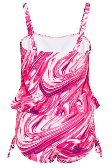 Marble Print Blouson Swimsuit
