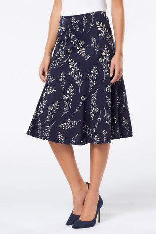 Sprig Print Ponte Panelled Skirt