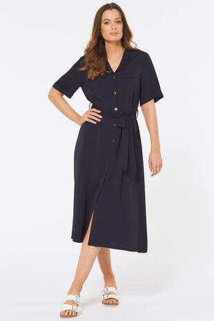 Short Sleeve Twill Shirt Dress