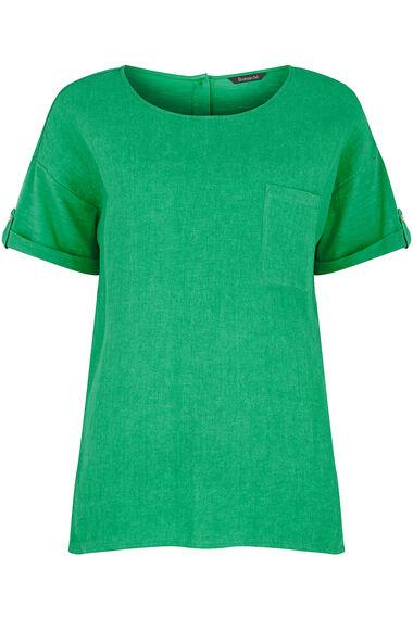 Linen Blend Woven Front Jersey Back