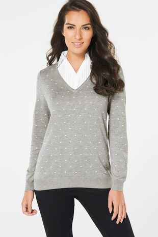 Textured Spot Mock Shirt Jumper