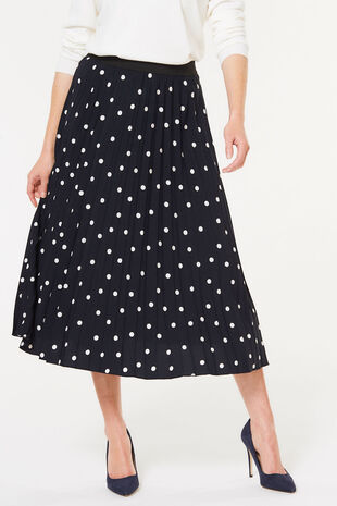 Pleated Spot Skirt