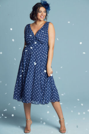 Scarlett & Jo Spot Midi Dress With Pale Blue Spot
