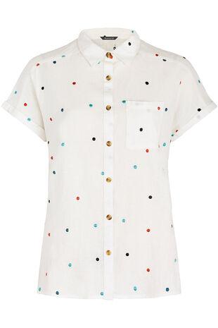 Short Sleeve Linen Blend Shirt with Spot Embroidery