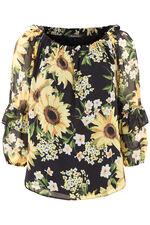 Sunflower Print Bardot Gypsy Top