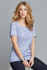 Square Neck Butterfly Print T-Shirt