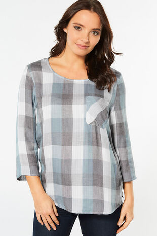 3/4 Sleeve Check Shell Top