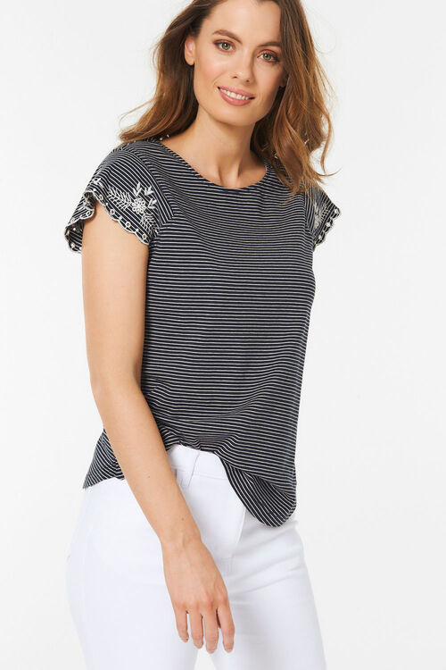 Stripe Embroidered Sleeve T-Shirt