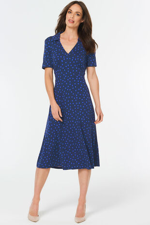 Printed Collared Midi Dress
