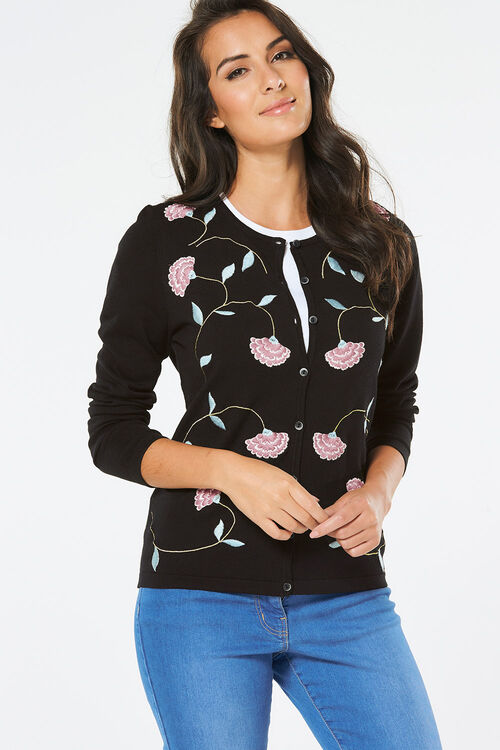 Floral Embroidered Cardigan