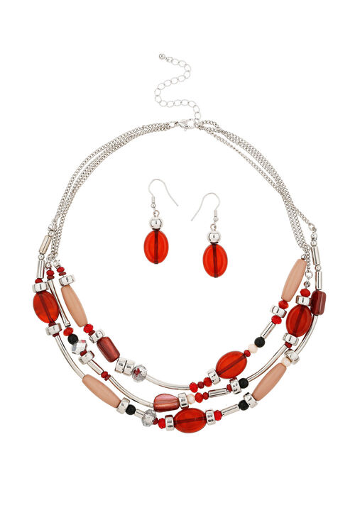 Muse Mixed Beaded Necklace & Earring Set