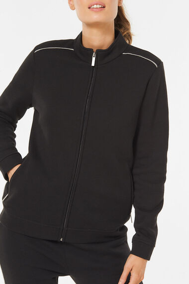 Funnel Neck Jacket with Contrast Piping