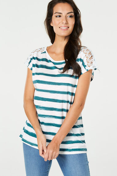 Stripe Lace Shoulder T-Shirt
