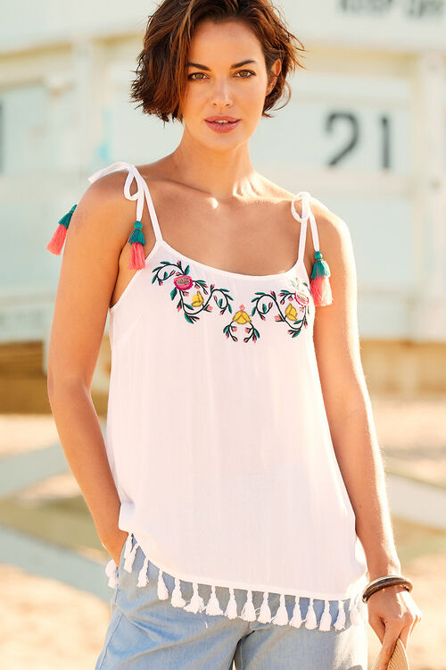 Embroidered Cami With Tassel