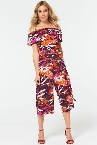 Tropical Bardot Frill Jumpsuit