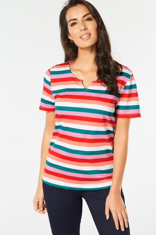 Notch Neck Stripe Print T-Shirt