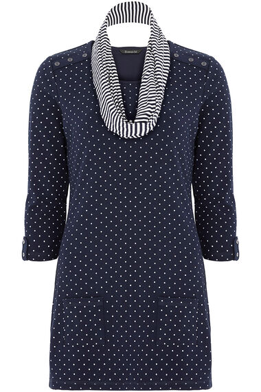 Spot Print Tunic with Scarf