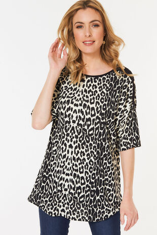 Animal Print Popper Detail Tunic