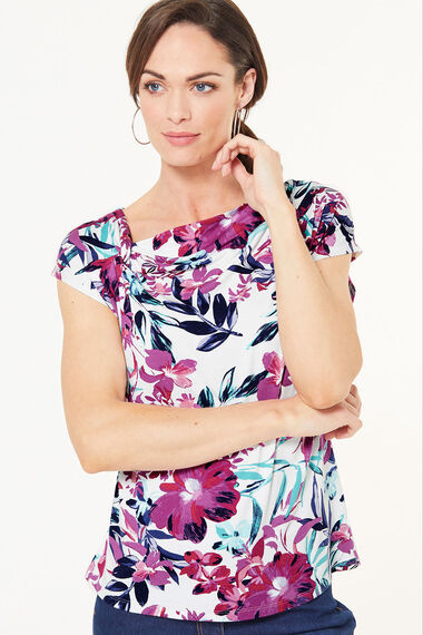Knot Detail Floral Print Top