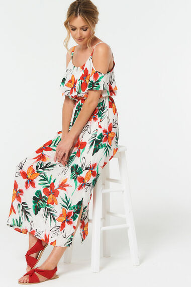 Flower Print Cold Shoulder Maxi Dress