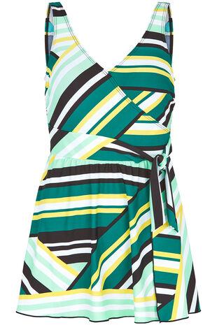 Stripe Tie Side Swimdress