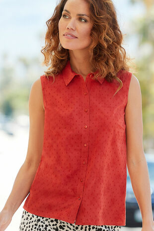 Sleeveless Schiffly Button Through Blouse