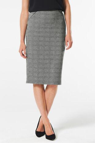 Prince of Wales Check Ponte Pencil Skirt