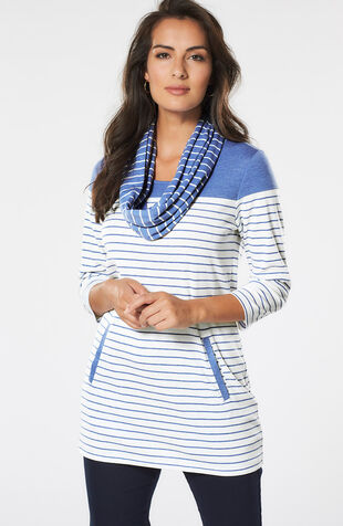 Cut & Sew Detail Tunic with Scarf