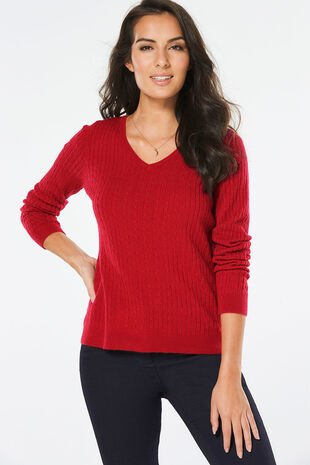 Supersoft V-neck Mini Cable Jumper