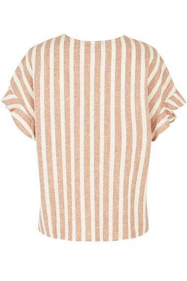 Linen Blend Frill Sleeve Top