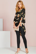 Floral Print Tunic With Dipped Hem