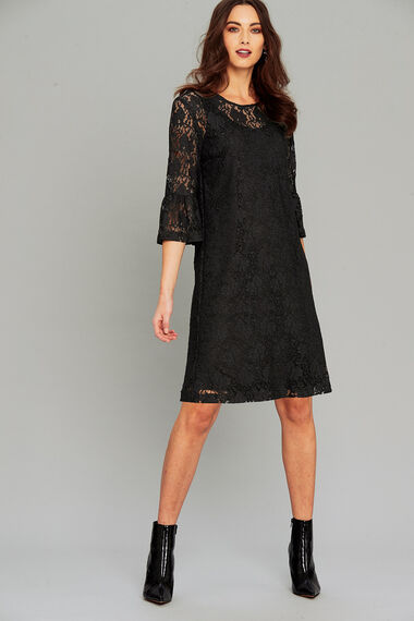 Salvari Lace Dress With Ruffle Sleeve