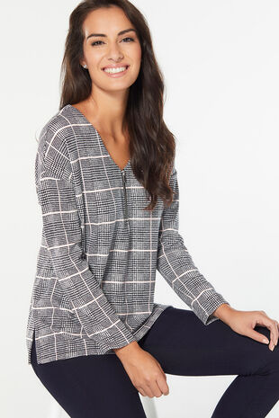 Check Print with Zip Front Sweat