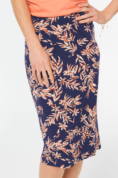 Bold Flower Jersey Tube Skirt