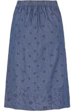 Chambray Border Print A Line Skirt