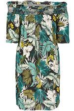 Leaf Print Bardot Sundress