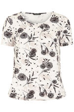 Floral Print Gathered Neck Top