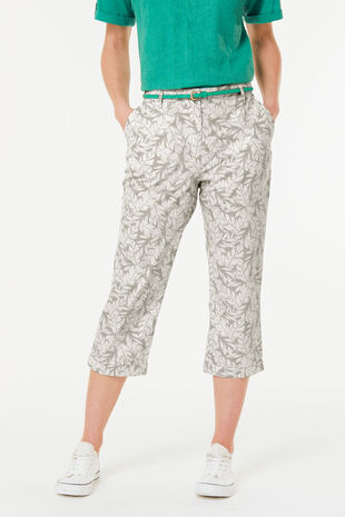 Leaf Print Brushed Cotton Crop Trouser