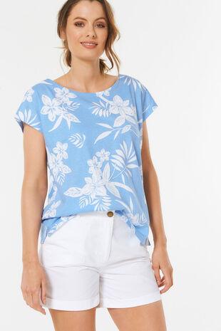 4c07bd0ae8029 Printed Linen Blend T-Shirt