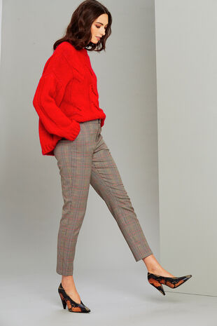 Salvari Check Trouser With Elastic Back Detail