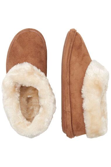 Fur Trim Boot Slipper