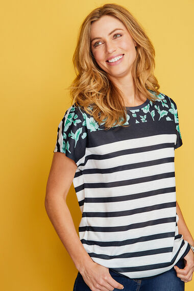 Mix Floral & Stripe T-Shirt