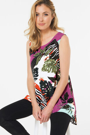 Tropical Print Top with Dipped Hem