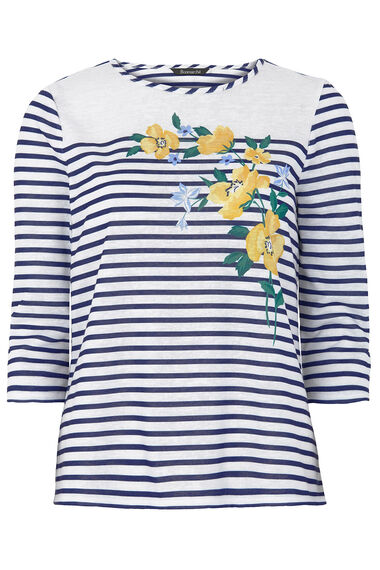 Floral And Stripe Printed Top