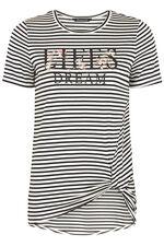 Stripe Slogan Tie Side T-Shirt